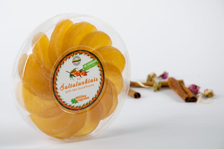 Marmeladiniai saldainiai su šaltalankiais, be pridėtinio cukraus – 140 g.