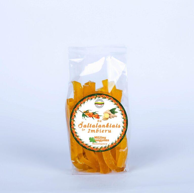 Marmeladiniai šiaudeliai su šaltalankiais ir imbieru – 100 g. – NAUJIENA!
