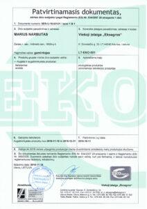 Ekologiško ūkio sertifikatas 2018-2019